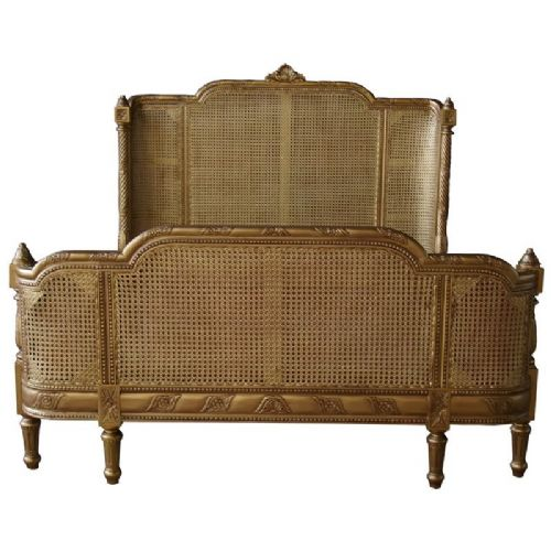 Antique Gold French Rattan Bed